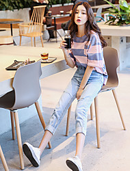 Sign 2017 spring models Korean homes have clothes with the money hole loose nine points jeans female