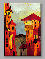 IARTS Hand Painted Modern Abstract Landscape Painting Red Castle Wall Art For Home Decor