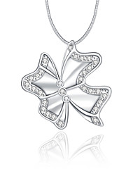 cheap -Women's Bowknot Luxury Unique Design Logo Style Dangling Style Pendant Necklace Crystal Sterling Silver Crystal Imitation Diamond Pendant