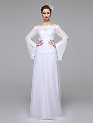 cheap -A-Line Bateau Neck Floor Length Lace Wedding Dress with Sash / Ribbon by LAN TING BRIDE®