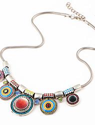 cheap -Round Shape Bohemian Choker Necklace Multi-stone Alloy Choker Necklace Daily Costume Jewelry