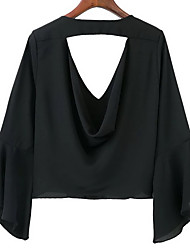 wish AliExpress ebay Europe new deep V-neck blouse chest drain trumpet sleeves embroidered chiffon shirt