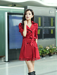 cheap -Women's Classic Style Coat-Solid Color Peter Pan Collar