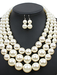 cheap -Women's Jewelry Set - Pearl Euramerican Include Beige / Dark Coffee / Red For Wedding / Party / Special Occasion