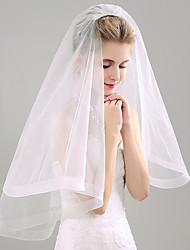 Two Tier Pencil Edge Wedding Veil Fingertip Veils With Flower Comb Organza