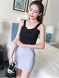 2017 spring and summer solid color knit camisole female short paragraph bottoming shirt Slim was thin outer wear bow