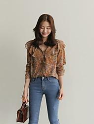 17 Spring Korean-style retro personality wild temperament floral shirt shirt