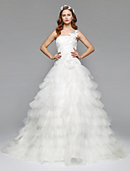 cheap -Ball Gown One Shoulder Chapel Train Satin Tulle Wedding Dress with Beading Flower Side-Draped by LAN TING BRIDE®