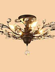 cheap -Rustic/Lodge Traditional/Classic Crystal Designers Flush Mount Ambient Light For Living Room Bedroom Kitchen Dining Room Study Room/Office