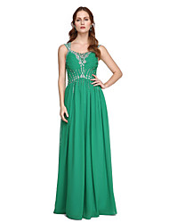 Sheath / Column Straps Floor Length Chiffon Formal Evening Dress with Beading Pleats by TS Couture®