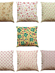Set of 7 Romantic Floral  Pattern Linen  Cushion Cover Home Office Sofa Square  Pillow Case Decorative Cushion Covers Pillowcases As a Gift