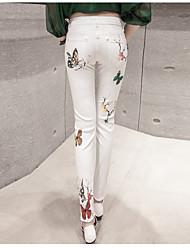 assinar 2017 primavera nova impressão de moda jeans slim pés lápis calças eram mulheres magras