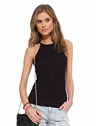 Women's Business Daily Office & Career Simple Tank Top,Solid Color Round Neck Sleeveless N/A Medium