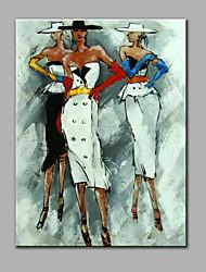 Peint à la main Abstrait Personnage Verticale,Moderne Un Panneau Toile Peinture à l'huile Hang-peint For Décoration d'intérieur