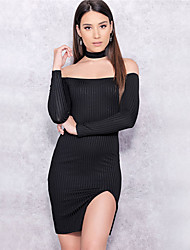 aliexpress Amazon europe col sexy bandes refendues paquet de coton fosse robe de la hanche