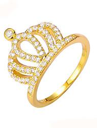 baratos -Mulheres Anel de banda / Anel - Cobre, Strass, Chapeado Dourado Coroa Vintage, Fashion 6 / 7 / 8 Dourado Para Casamento / Festa / Noivado