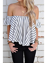 cheap -Women's Daily Wear Chic & Modern Summer T-Shirt,Stripe Boat Neck Short Sleeves Polyester Thin