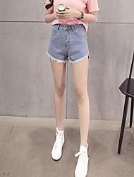 Sign million years ago through basic models Korean short hairy edge fringed wide leg denim shorts female tide
