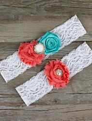 2pcs/set Pink And Light Blue Satin Lace Chiffon Beading Wedding Garter