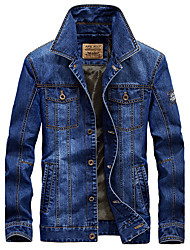 Men's Casual/Daily Simple Vintage Spring Denim Jacket,Solid Shirt Collar Long Sleeve Regular Cotton Polyester