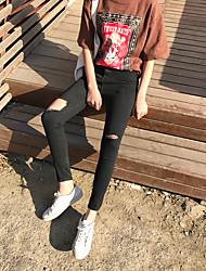 segno # buco nero pantaloni a matita pantaloni stretch vita sottile piedi jeans stretti collant femminili