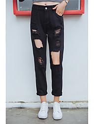 Знак yoke 2017 весной и летом ветер bf потерять большое колено отверстие джинсы женские колготки