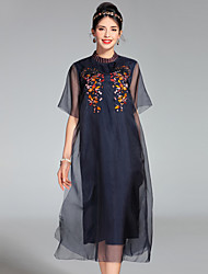 PROVERB Women's Embroidery Going out Cute Loose DressSolid Round Neck Midi Short Sleeve Silk Spring Summer Mid Rise Inelastic Medium