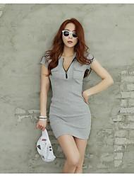 été version coréenne de longue section v-cou décontracté du t-shirt femme robe à manches courtes mince hanche mince paquet chemise creux