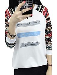 signe printemps t-shirt femmes vent national des lettres géométriques imprimé col rond mince à manches longues T-shirt tide femme