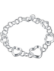 cheap -Women's Girls' Silver Plated Heart Chain Bracelet - Vintage Friendship Fashion Silver Bracelet For Christmas Gifts Wedding Party