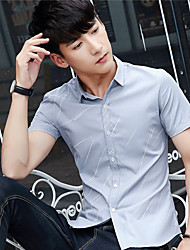 Male short-sleeved shirt Slim Korean teenagers trend of men short-sleeved shirt student summer clothes