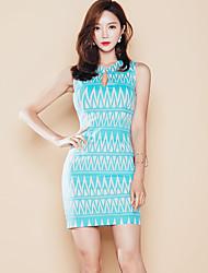 Summer new Korean ladies temperament Slim thin package hip skirt printed dress ladies vest female