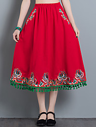 Women's Mid Rise Going out Casual/Daily Midi Skirts,Simple Swing Embroidered Solid Spring Summer