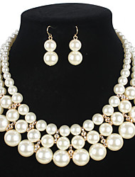 cheap -Women's Pearl Jewelry Set 1 Necklace / 1 Pair of Earrings - Euramerican Round White Jewelry Set For Wedding / Party / Special Occasion