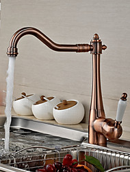 Antique Bar/Prep Deck Mounted Rotatable with Ceramic Valve Single Handle One Hole for Antique Brass  Kitchen faucet