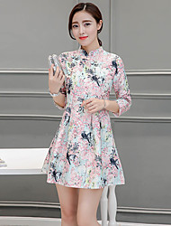 Sign new Women Korean printing sleeve improved cheongsam dress a word skirt and long sections