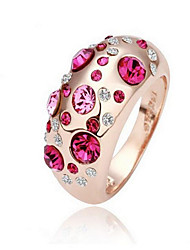 baratos -Mulheres Anel - Cristal, Liga Fashion, Euramerican Tamanho Único Prata / Rosa cor de Rosa / Rosa Para Festa Diário Casual