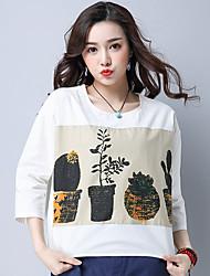 Sinal 2017 nova costura literária algodão solto t-shirt tinta de impressão