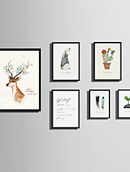 cheap -E-HOME® Framed Canvas Art  Simple Animal And Plant Color Theme Series Framed Canvas Print One Pcs