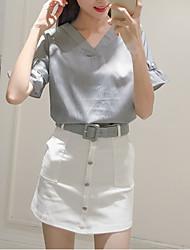 estate segno nuova maglia con scollo a V capestro camicia a strisce + petto cintura pacchetto gonna abito gonna