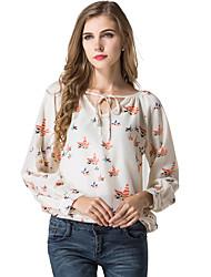 Kadın İnce Yarı Saydam Polyester Uzun Kollu V Yaka Bahar Yaz Hayvan Desenli Seksi Sade Günlük/Sade-Kadın Tişört