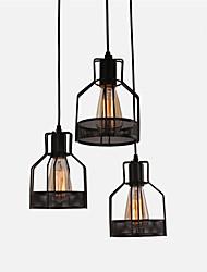 cheap -Vintage Rustic Black Metal Cage Shade Dining Room Pendant Light 3 Light Living Room Dining Room Chandelier