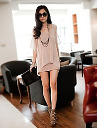 Women's Going out Beach Holiday Sexy Simple Cute Tunic Dress,Solid U Neck Mini ½ Length Sleeve Pink Black Spandex Spring Summer Mid Rise