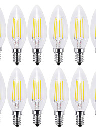 cheap -KWB 12PCS 4W 400 lm E14 LED Filament Bulbs C35 4 leds COB Decorative Warm White Cold White AC 220-240 V