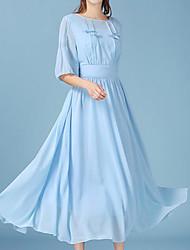 abordables -Mujer Noche Gasa Vestido Un Color Maxi Azul