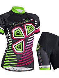 cheap -Nuckily Women's Short Sleeves Cycling Jersey with Shorts - Black Floral / Botanical Bike Shorts Jersey Clothing Suits, Waterproof,