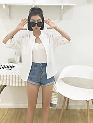 signe rayures verticales fan korean chemise en lin lâche col blanc casual coton t-shirt femme sauvage