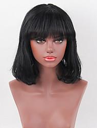 economico -parrucca di capelli umani affascinante caschetto nero onda naturale senza cappuccio con la frangetta per le donne 2017