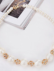 cheap -Women's Round Shape Circular Choker Necklace Synthetic Diamond Imitation Pearl Pearl Alloy Choker Necklace Party Birthday Daily Costume