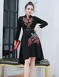 Sign aristocratic temperament 2017 spring new v-neck embroidered waist dress Slim skirt autumn ladies tide